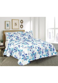 QUILT KING ESTAMPADO MF HOJA AZUL